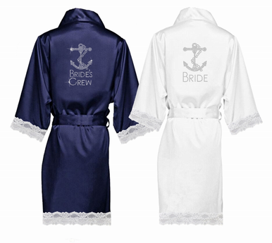 Rhinestone Embellished Lace Trimmed Satin Robe with Anchor Deisgn