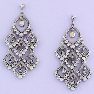 Silver Austrian Crystal Chandelier Earrings