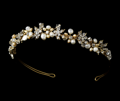 Gold  Bridal Headband with Freshwater Pearls and Crystals