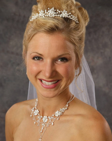Small Tiara with Pearls and Rhinestones 8022