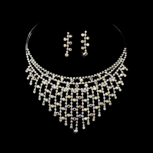 Exquisite Silver AB Rhinestone Necklace & Earring Set NE 379