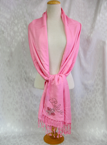 Believe Silk Pashmina Shawl with Pink Ribbon and Heart