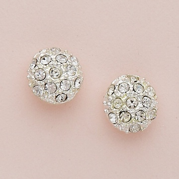 Round with Embedded Crystals Silver Earrings