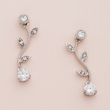 Silver Vine Pattern Earrings with Clear Crystals
