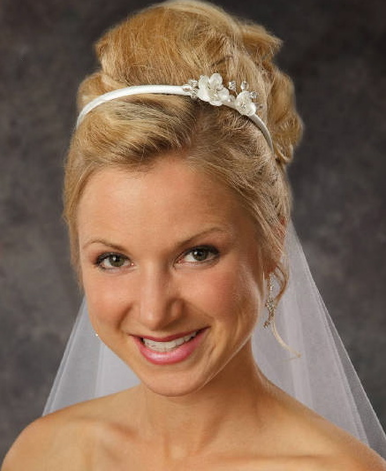 Satin Bridal Headband with Flower Detail 8038