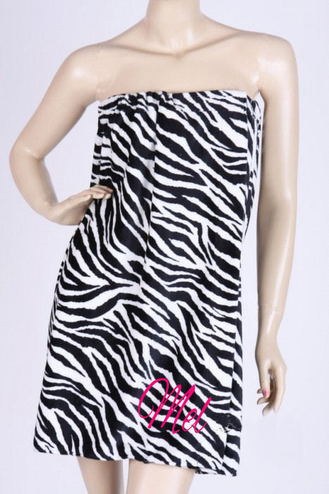 CLEARANCE: Personalized Zebra Spa Wrap - Embroidered Spa Wrap in Zebra Print