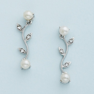 Silver Vine Pattern Earrings with Clear Crystal