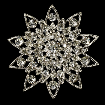 Elegant Vintage Crystal Bridal Pin for Hair or Gown Brooch 22