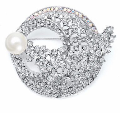 Art Deco Bridal Brooch with Pearl Accent