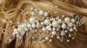 Pair of Bridal Combs with Pearls and Rhinestones 8052