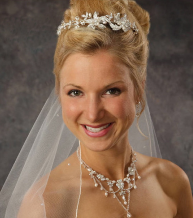 Stunning Wedding Headpiece with Rhinestones and Pearls 8054