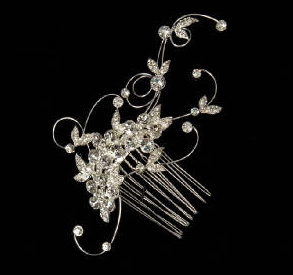 Curled Wire and Rhinestone Hair Comb 8056