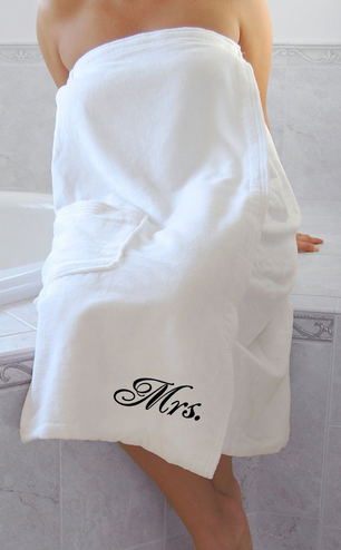 Mr and Mrs Spa Wraps in White Terry Velour