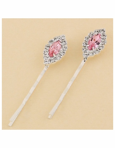 Clear Marquise Crystal Silver Bobby Pins