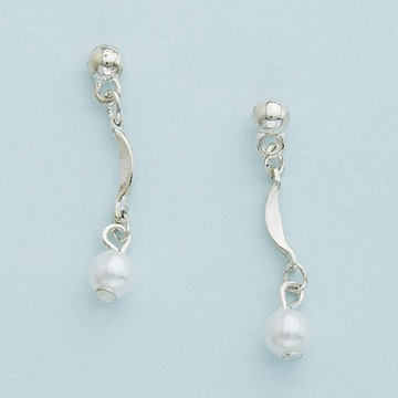 Silver with White Pearl Drop Earrings