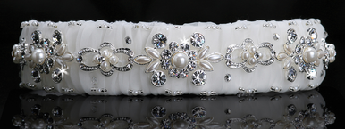 En Vogue Bridal Silver & Crystal Satin Organza Headband HB201