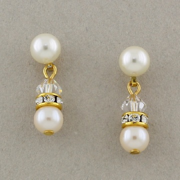 Ivory Pearl and Crystal Rondelle Gold Earrings - Pierced  or Clip On Available