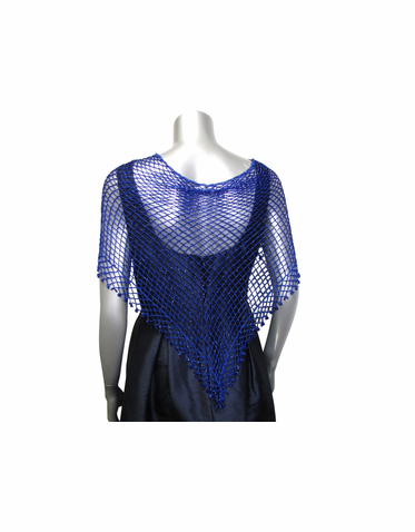 CLEARANCE: Beaded Blue Crochet Shawl - Only One Left!