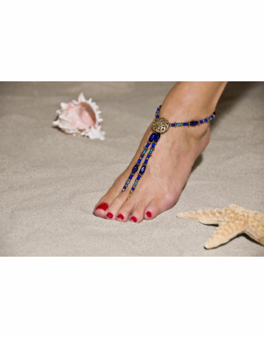 Striking Multi-Hued Blue Barefoot Sandals
