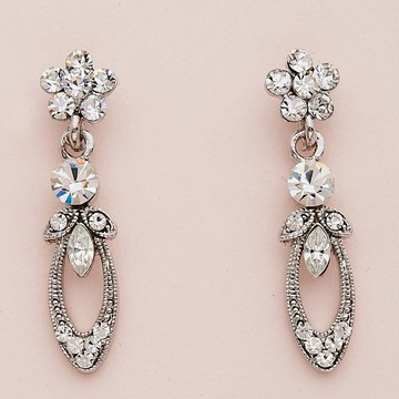 Clear Crystal Victorian Silver Earrings