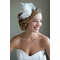 Ingrid Ivory Bridal Hat with Feather Fascinator