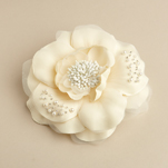 Matte Silk Flower With Baby Pearls And Seeds Hair Clip And Brooch