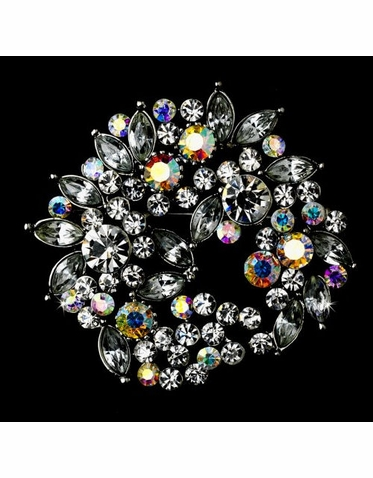 Floral Wreath Crystal Brooch - Bridal Pin
