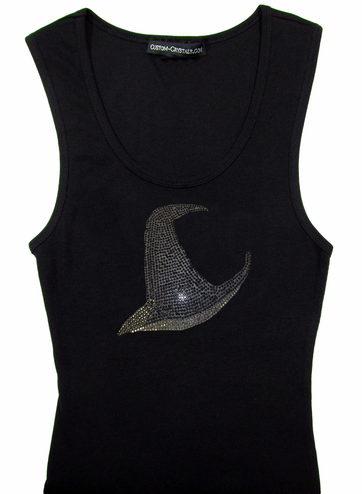 Custom Witch's Hat Rhinestone Tank Top or T-Shirt