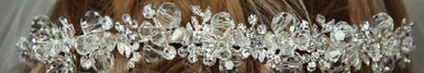 Brides Band of Rhinestone Leaves and Crystals 7027