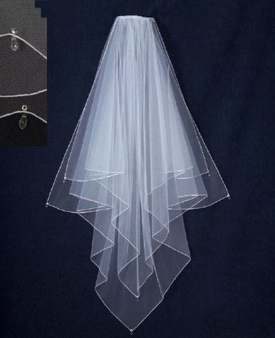 Square Cut Veil with Crystal Drops V1309