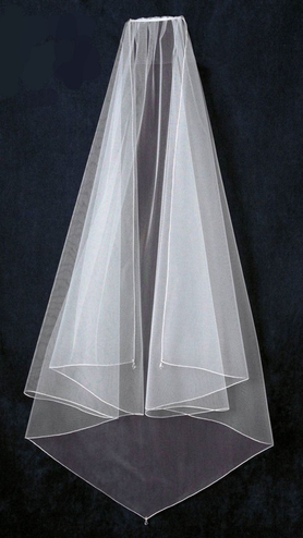 Knee Length Veil with Austrian Crystal Teardrops V1209