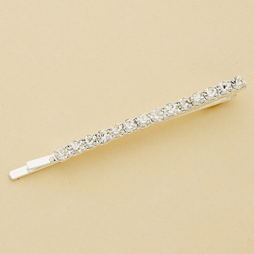 1-Row Crystal Silver Bobby Pin - Set of 2