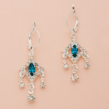 Marquise Crystal Silver Chandelier Earrings
