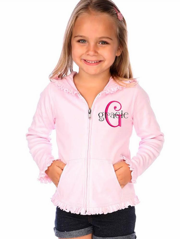 Charming Girls Ruffled Hoodie with Custom Overlay Monogram