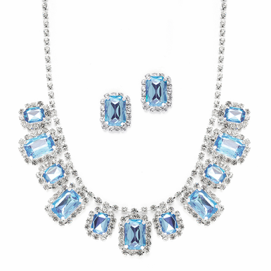 Opulent Square Rhinestone Adorned Necklace Set  Four Dazzling Colors
