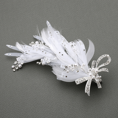 Vintage Pave Crystal Hair Clip In White Or Ivory
