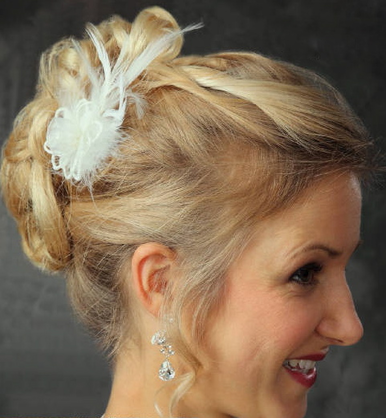 Organza Flower Hair Comb with Feathers 7015