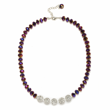 Enchanting Custom Faceted Glass Bead And Crystal Fireball Necklace Available In 22 Colors
