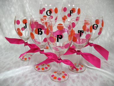 Custom Wine Glasses with Initial - Perfect for Your Bridal Party!