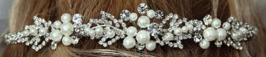 Gorgeous Pearl and Rhinestone Headpiece 7023