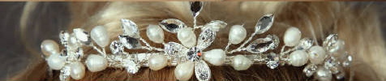 Freshwater Pearls and Marquis Rhinestones Tiara 7049