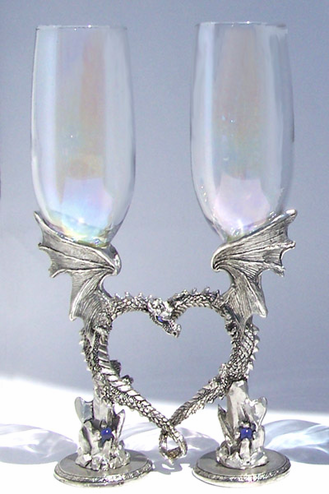 Dragon Heart Pewter Toasting Flutes