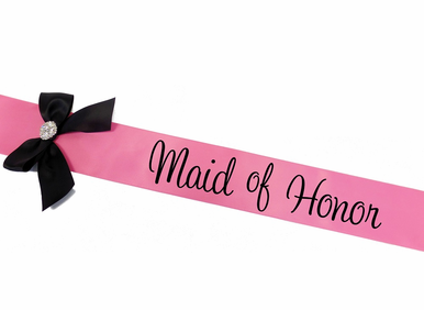 Custom Printed Satin Sash with Bow and Optional Rhinestone Brooch