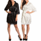 Silky Satin Kimono Robes with Matching Lace Trim