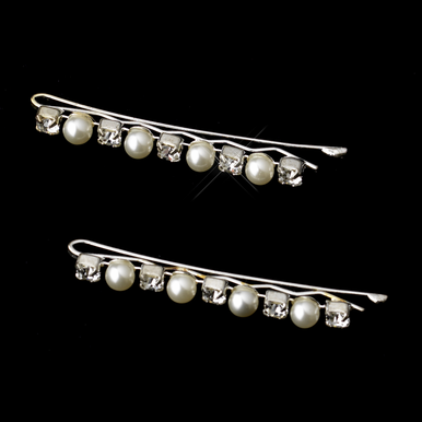 Pearl and Crystal Alternating Silver Bobby Pins - Set of 2