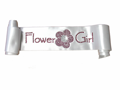 Custom Crystal Flower Girl Sash with Rhinestone Flower Design