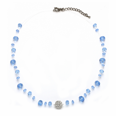 Exquisite Custom Made Cut Glass And Crystal Illusion Necklace Available In 22 Colors
