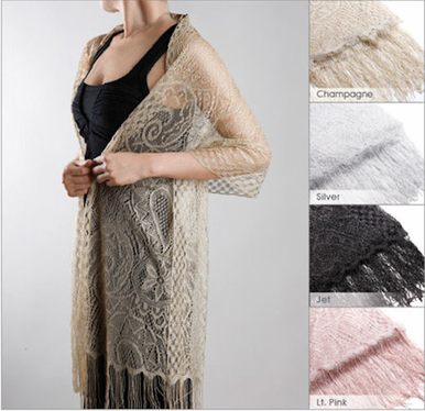 Metallic Lace Shawl - Bridal Shawl - Evening Shawl