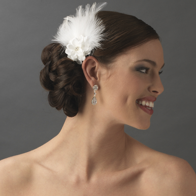 Flower and Feather Bridal Headpiece - Fascinator