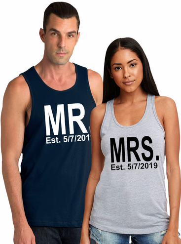Couples Custom MR. and MRS. Tee with Est. Date